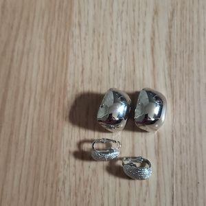 Trifari silver clip on earrings 2 pairs
